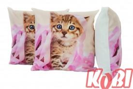 Poszewka dekoracyjna 45x45 ANIMAL PINK CAT